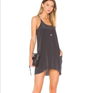 Chaser Silk T Back Mini Dress Black/Gray 100% Silk